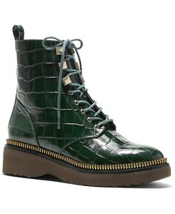 Michael Michael Kors Haskell Booties Classic Combat Boots Leather Moss Size 9.5