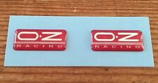 2 x OZ Racing STICKERS - DECALS 28mm Chrome on Red  HIGH GLOSS DOMED GEL FINISH