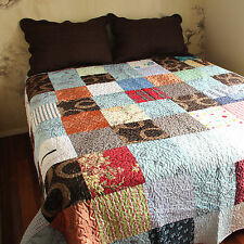 Vintage Patchwork Mix Modern Print Throw, Blanket Quilt Two pillow cases NEW