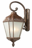 "Weathered Bronze And White Seedy Glass Exterior Wall Light Fixture 11"" x 26.5"""