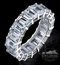8 ct Emerald Cut Eternity Ring Top CZ Imitation Moissanite Simulant SS Size 4