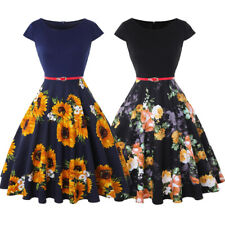 Women Floral Belted Short Sleeve Summer Casual Party Cocktail Swing A-line Dress
