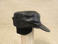 00efecd208c6a Vintage Cadet Cap Black Leather Winter Warm One Size Fleece Quilted Lining