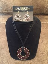 NWT Jewels by Park Lane Brown Express-O Necklace & Earrings Set Genuine Leather