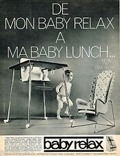 PUBLICITE ADVERTISING 065  1966  BABY RELAX  siège & chaise de table bébé