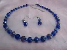 NECKLASE WITH PIERCED EARRINGS SET BLUE BEADS  18 in CHAIN 3 in SAFETY CHAIN