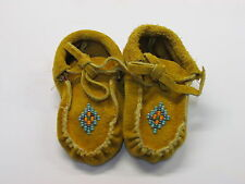 NATIVE AMERICAN  BEADED MOCCASINS FOR BABIES, WARM COZY , 4 INCHES, WITH TIES