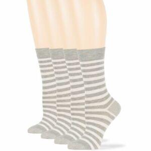 Women's Cotton 4 Pack Striped Dress Plus Size Crew Socks Large 10-12 Grey