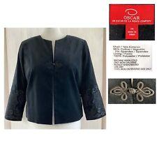 OSCAR by OSCAR DE LA RENTA Women's 14 Black Cotton Velvet Toggle Jacket EUC