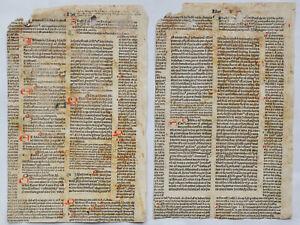 2 Incunable leaves – Iustinian, Corpus iuris civilis - Lyon: Johann Siber – 1480