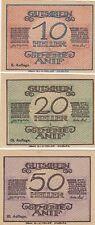 AUTRICHE: ANIF, 3 billets nécessité 10,20,50 heller 1920 état superbe