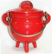 """3.5 """" Cast Iron Red Cauldron Incense Burner Pot Belly ~ Free Priority Shipping"""
