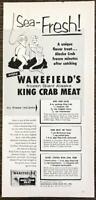 1955 PRINT AD Wakefield's Frozen Giant Alaska King Crab Meat Sea-Fresh! Mermaid