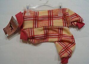 "Doggiduds Pink Plaid Heavy Pajamas Shirt 10-14"" Length Small Vo-Toys Warm Fleece"