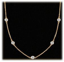 3.41 carat Round Diamonds By The Yard 14k Yellow Gold Necklace 11 X 0.31 CT