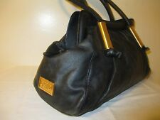 Badgley Mischka  Black Genuine Leather Shoulder Luxury Bag RARE!
