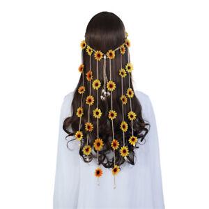 Boho Ladies Sun Flower Hairband Party Feather Hair Headbands Tassels Handmade