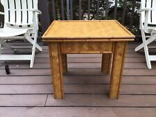 Vintage Burnt Bamboo Side End Table Boho Wicker Rattan Mid Century Modern 24x 20