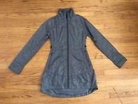Athleta Womens sz XXS denim blue nylon water repellent long zip jacket