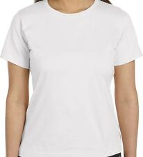 Ladies White T Shirt - Crew Neck - Short Sleeve - LAT - Cotton - Small - 3X -