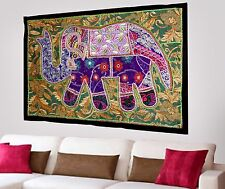HANDMADE ELEPHANT BOHEMIAN PATCHWORK WALL HANGING EMBROIDERED TAPESTRY INDIA X42