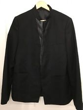 Topman Mens Blazer Size 42 Black Jacket Blazer Faux Leather Lapel Sport Coat