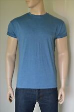 NEW Topman Rolled Up Sleeve Loose Fit Crew Neck Blue T-Shirt L