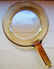 """Corning Visions Glass Cookware Amber 10"""" Skillet Fry Pan w/Waffle Bottom-France"""