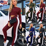 Women's 2Pcs Casual Sport Crop Top+Track Pants Sweat Suits Tracksuit Hoodies USA