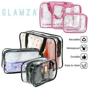 3 Piece Waterproof Travel Bag Set Transparent Makeup Toiletry Clear Wash Pouch