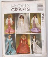 McCalls 3138 Pattern Fashion Doll Barbie Wedding Gown Evening Dress Stole Uncut