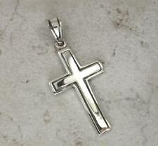 LARGE .925 STERLING SILVER HIGH POLISH STRIPED CROSS PENDANT  style# p0727