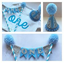 Baby Blue & Silver Boys Cake Smash Outfit/1st birthday Set