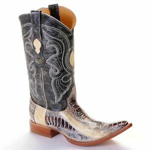 3X Toe Los Altos Men's Genuine Ostrich Leg Western Cowboy Boots Natural