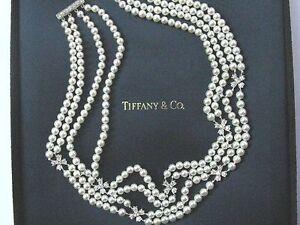 "Tiffany & Co Platinum Cultured Pearl Diamond Choker 14"" 1.80Ct"