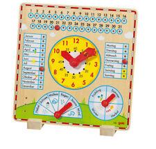 JAHRESUHR Lernuhr Kalender Holz Kinderuhr Holzuhr Jahreszeiten Lernkalender NEU