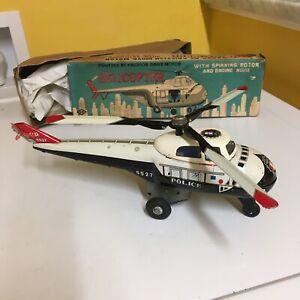 SUZUKI & EDWARDS <S&E>, TIN, FRICTION POLICE HELICOPTER  W/SPINNING ROTOR & BOX.