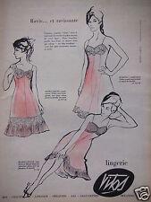 PUBLICITÉ 1960 VITOS BAS LINGERIE COMBINAISON MARINA MARGUERITE  - ADVERTISING