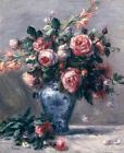 Vase Of Roses Pierre Auguste Renoir Floral Home Decor Print on Canvas Small 8x10