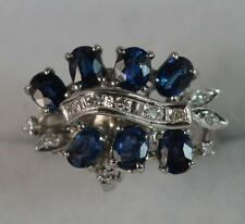 Impressive 18ct White Gold Sapphire & Diamond Cluster Ring p0413