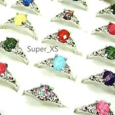 6pcs acrylic silver plated rings New wholesale Fashion lots  free shipping