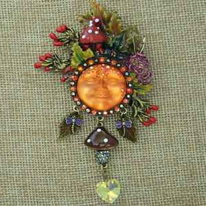 Kirks Folly Enchanted Forest Goddess Seaview Moon Pin Pendant BT with Charms