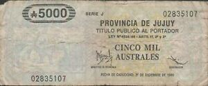 Argentina Provincia Jujuy 500 aust. 12.1990 Circulated Banknote Emergency Issue