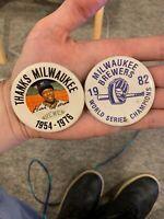 "1982 Milwaukee Brewers World Series Champions button 2 1/4"" original pin Aaron"
