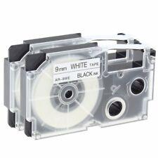 2 PK XR-9WE Label Tape Compatible for Casio Black on White 9mm KL100 KL120