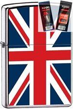 Zippo 7961 united kingdom flag Lighter with *FLINT & WICK GIFT SET*