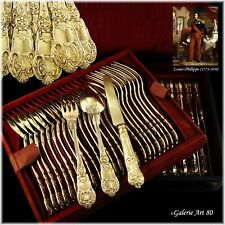 BUZOT : 54pc Antique French Louis-Philippe Vermeil Silver Dessert Flatware Set