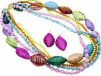 CHUNKY MULTI COLOR   SEED BEAD   STATEMENT   NECKLACE AND EARRING SET  4000W