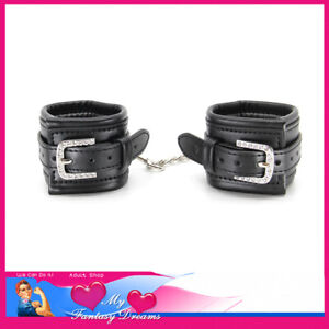 Handcuffs Vegan Leather Premium Quality Chains D Rings Restraints Buckle Up Cuff
