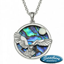 "Owl Necklace Abalone Paua Shell Pendant Womens Silver Fashion Jewellery 18"" Gift"